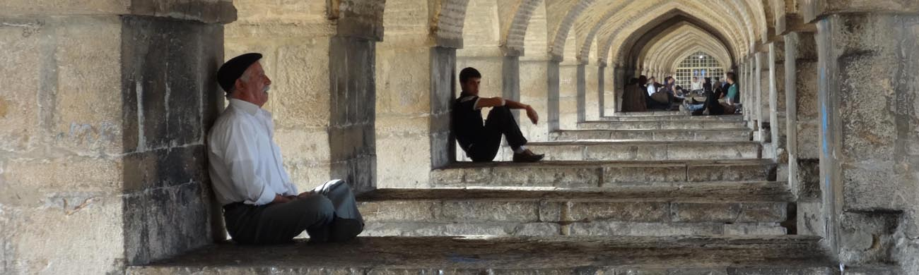 Man singing, Khaju Bridge-Isfahan, Iran