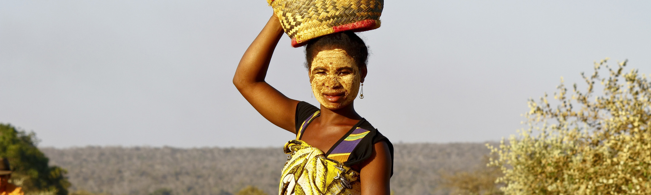 Malagasy woman with traditional mask on the face, Madagascar