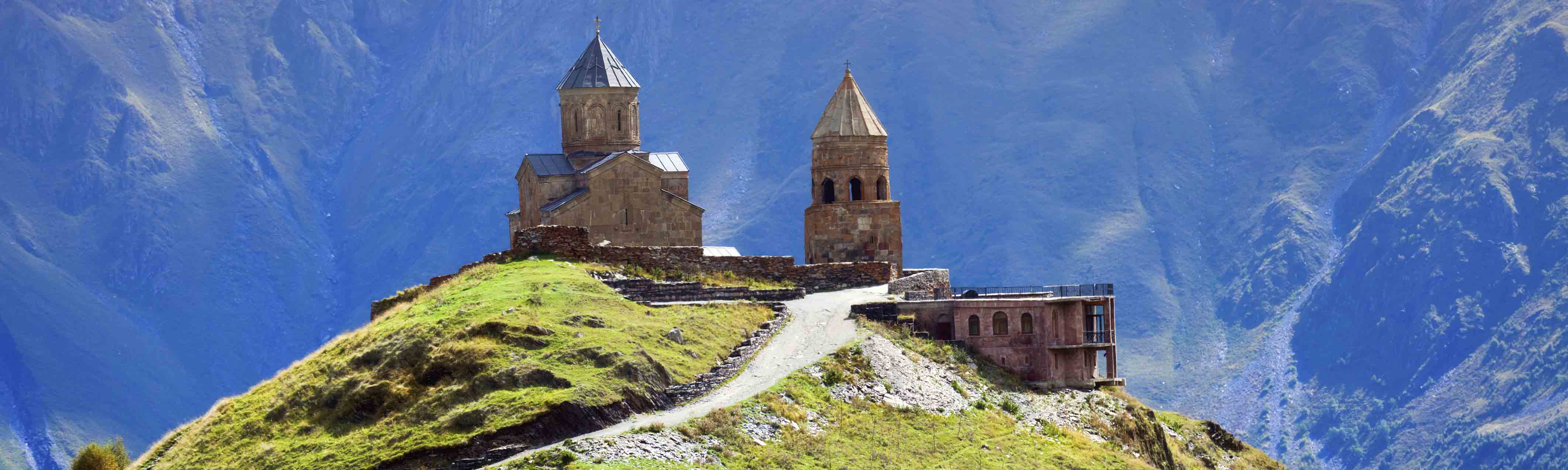 Kazbegi, Stepancminda village in Georgia, Caucasus.