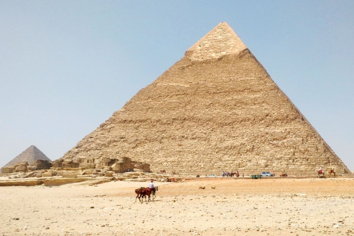 Pyramids in Egypt with blue skies