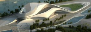 Rabat's Grand Theatre..Fluid lines inspired by a river frame a massive white edifice with an elongated, sculptural exterior