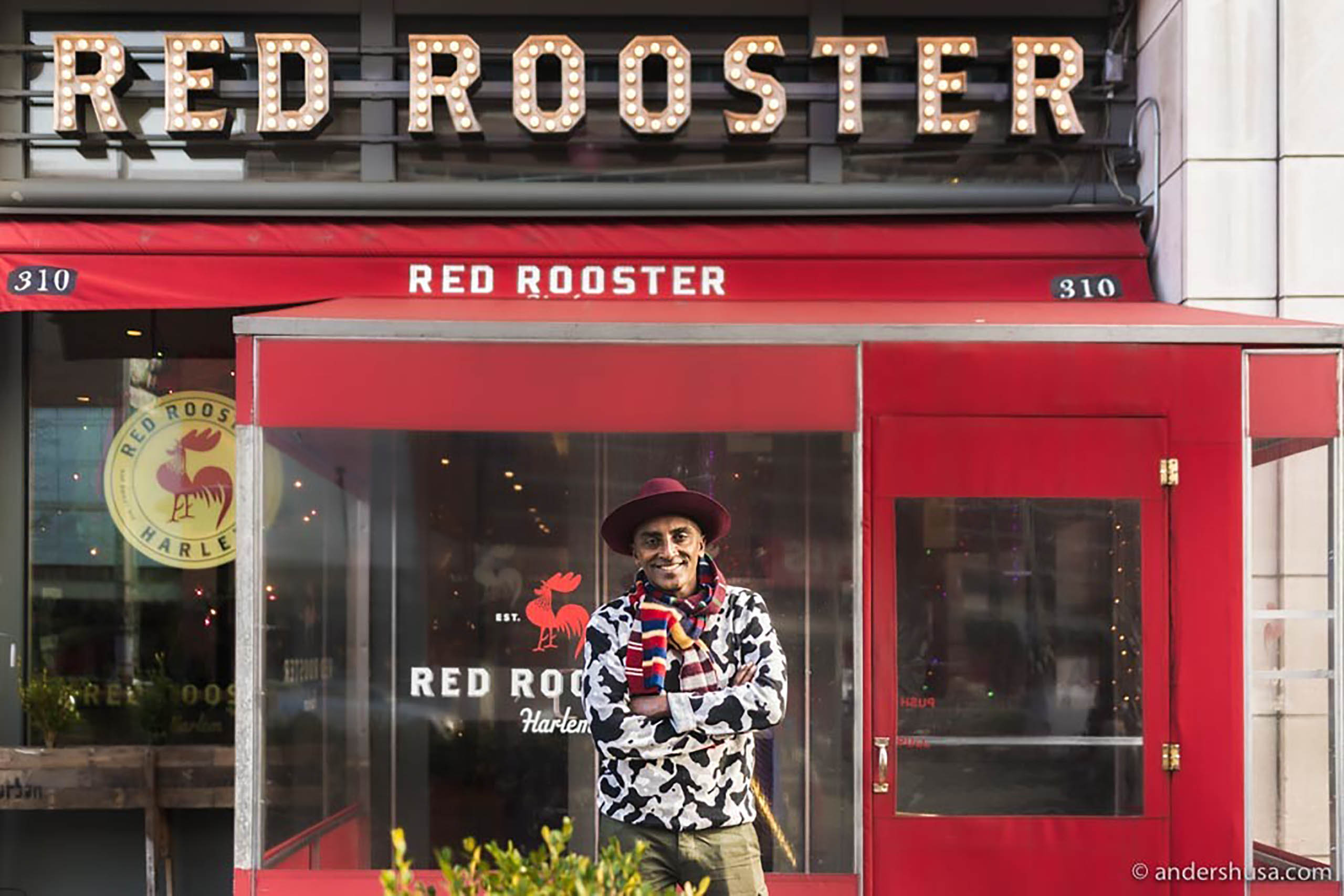 Ethiopian Swedish Chef Marcus Samuelsson outside his comfort food Red Rooster Restaurant, Harlem, New York