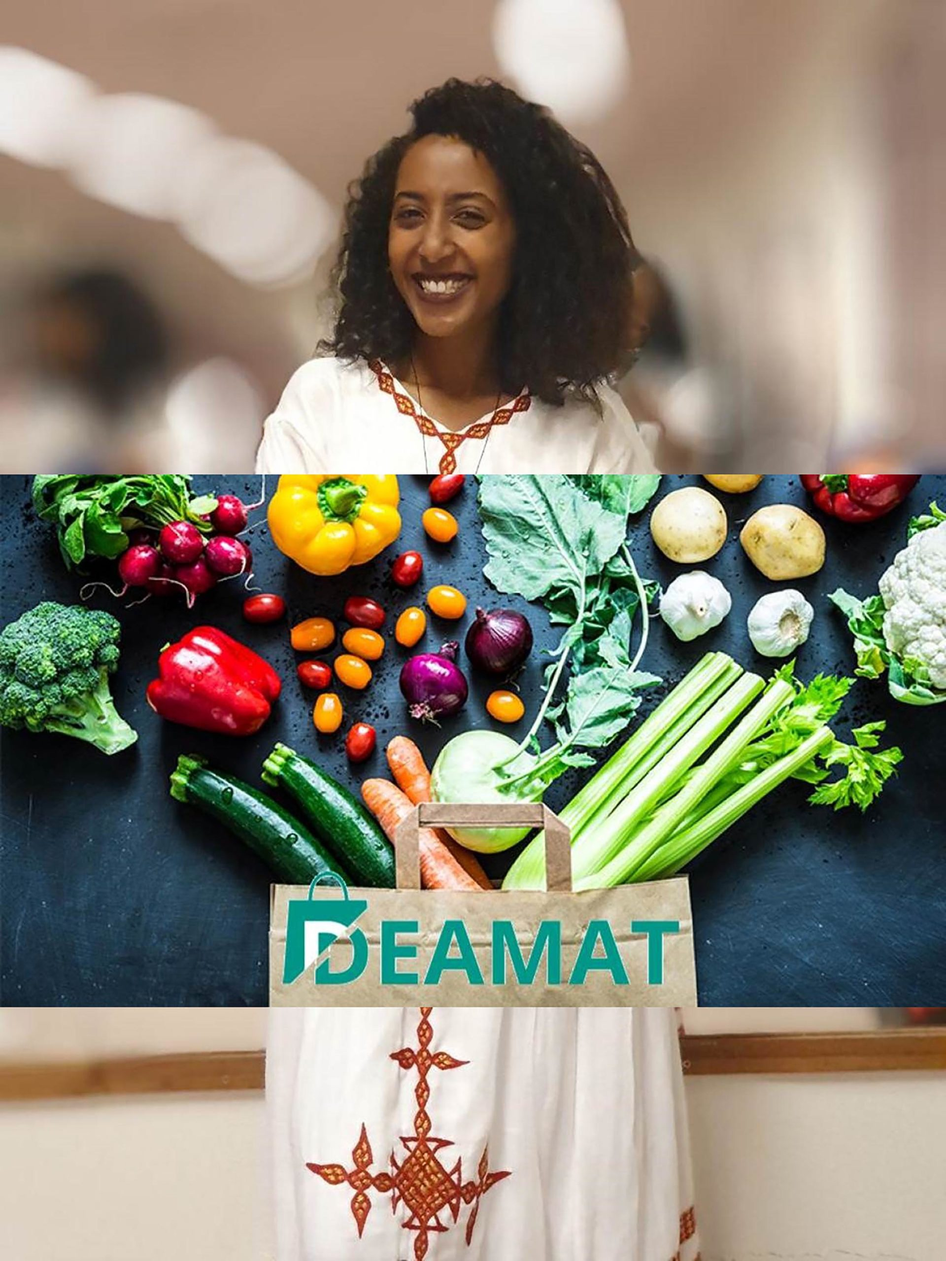Kisanet Haile Molla of Deamat in traditional Ethiopian dress with a photo of vegetables arranged around a Deamat shopping bag