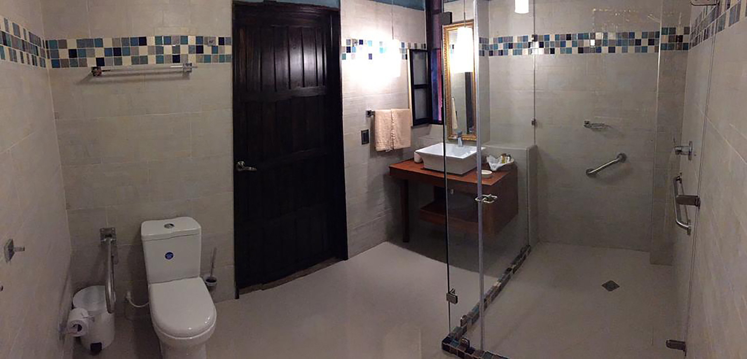 A large spacious bathroom at the hotel Monasterio with a large glasses walk I shower with ADA handrails in the shower