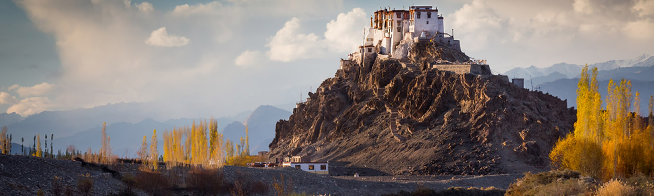 Buddhist monastery of Stakna above Indus river in the Indian Himalaya in late autumn. Stakna, Ladakh, India